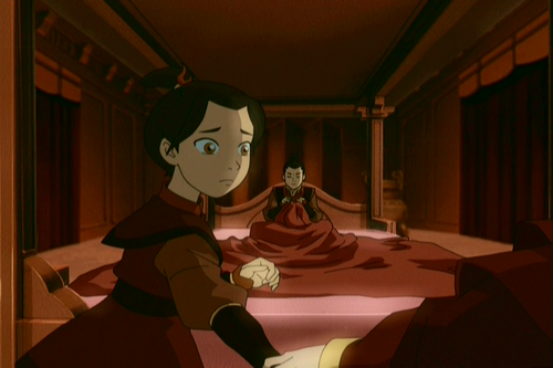 As a child, Azula shows rare fear/regret as her mother chastises her for cruelty.