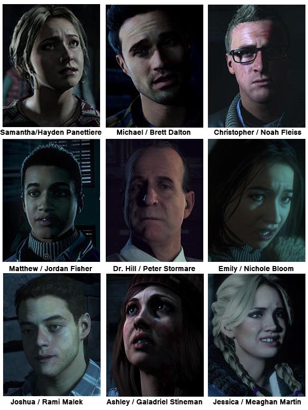 Until Dawn's cast includes all the stereotypes that would be expected in a horror movie.