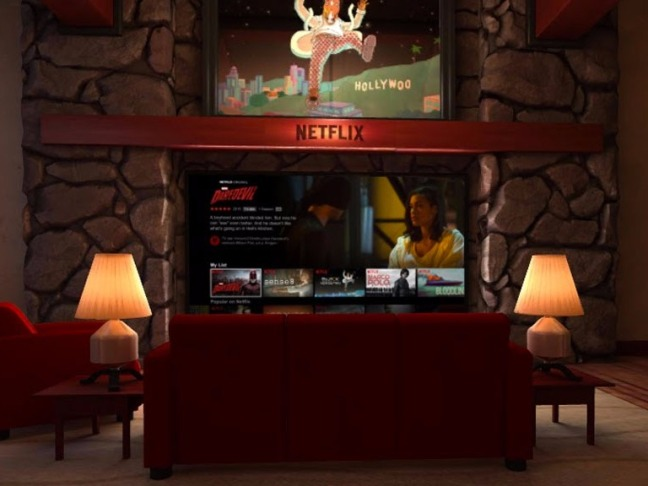 In the Netflix VR app - you're on that couch.