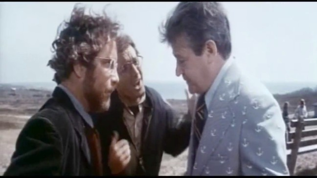 Brody and Hooper argue with the mayor to see reason regarding the shark.